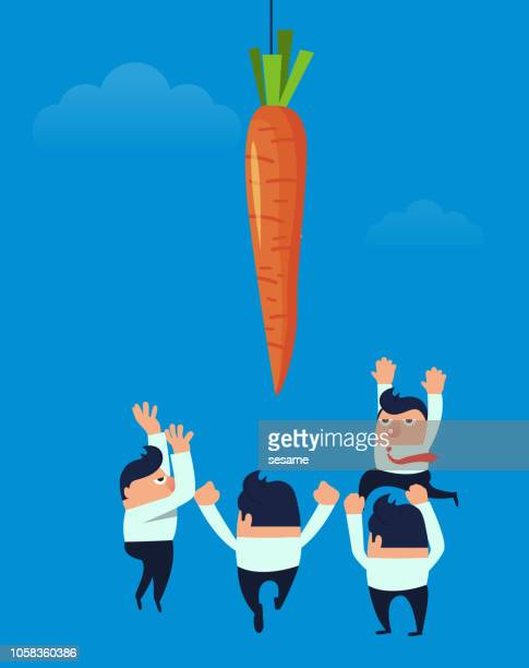 businessmen compete for carrots - temptation stock illustrations, clip art, cartoons, & icons