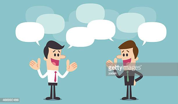Businessmen discussion illustration with speech bubbles