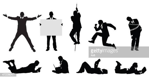 businessmen doing different activities - holding up sign stock illustrations