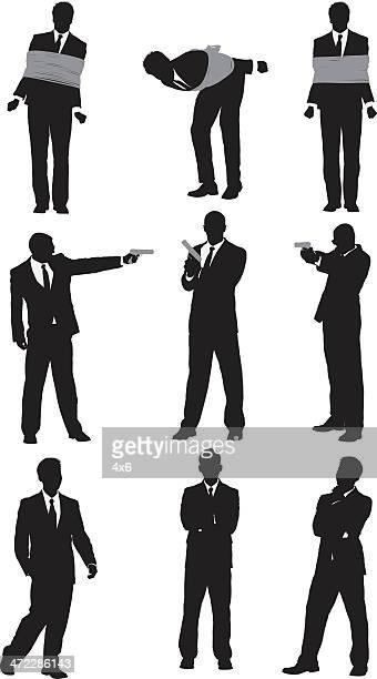 Businessmen doing different activities