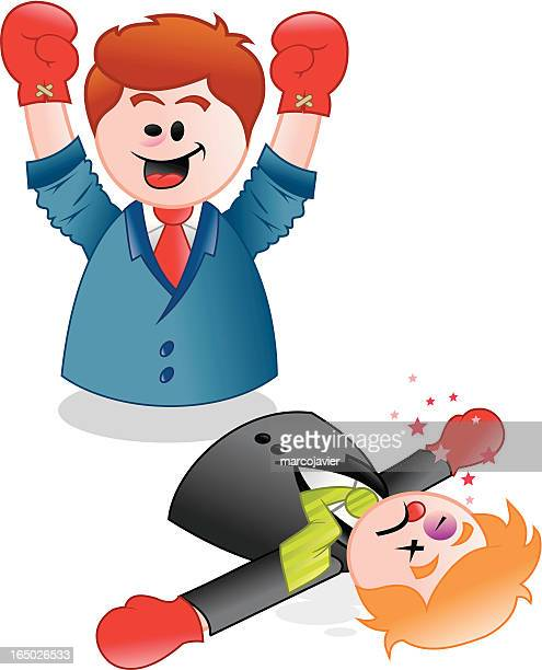 businessmen fighting - knockout sales - office fight stock illustrations, clip art, cartoons, & icons
