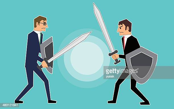 businessmen fighting - agression stock illustrations, clip art, cartoons, & icons