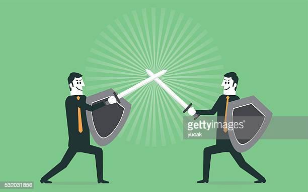 ビジネスマンの戦い - 攻める点のイラスト素材/クリップアート素材/マンガ素材/アイコン素材