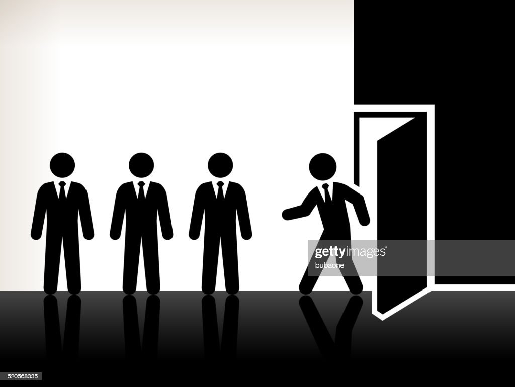 Businessmen Foot Through Door royalty free vector art