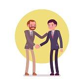 Businessmen greeting handshaking