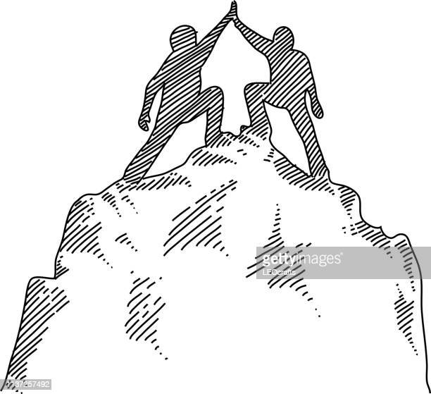 businessmen hive-fiving each other on the top of the mountain drawing - high up stock illustrations, clip art, cartoons, & icons