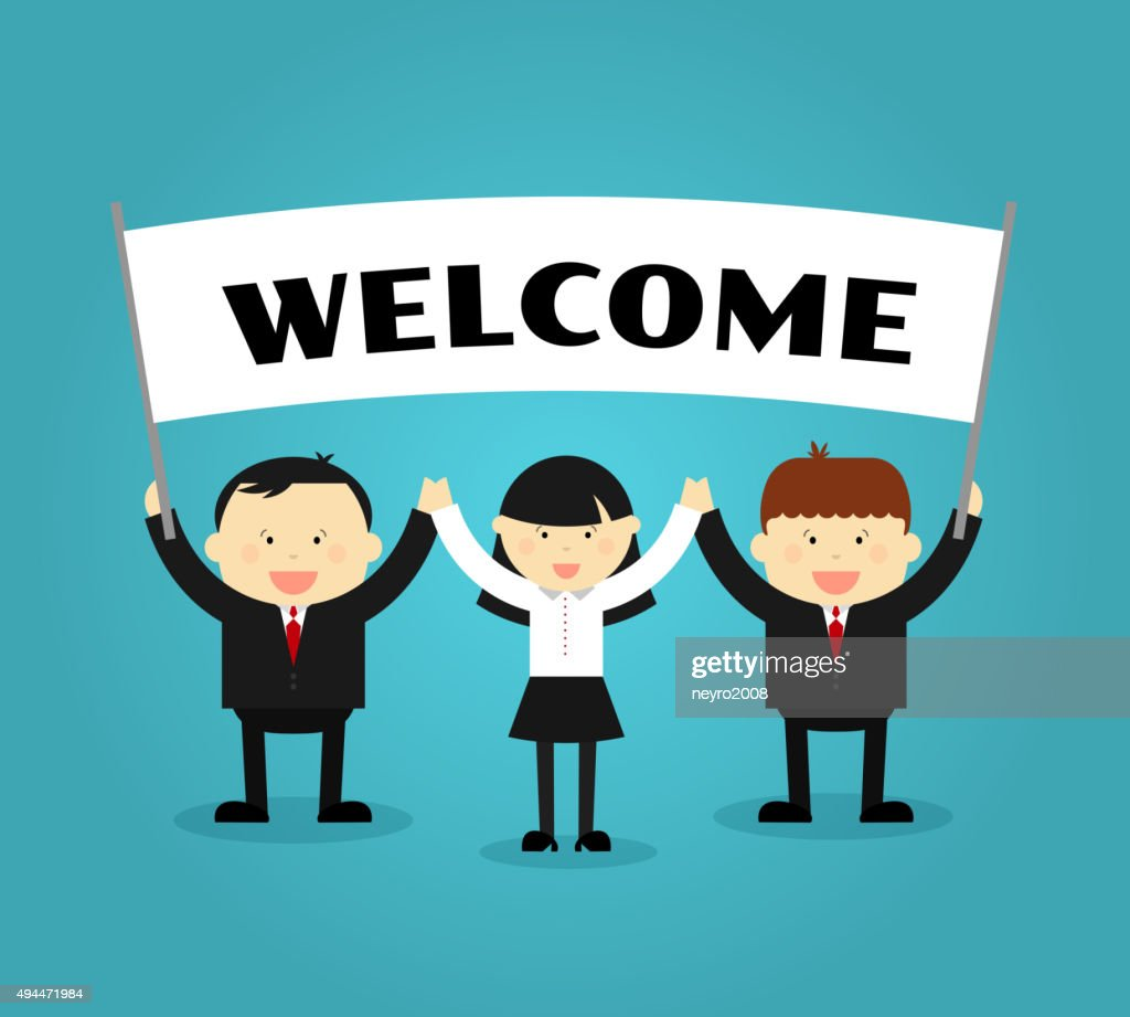 Businessmen holding welcome placard. Vector illustration