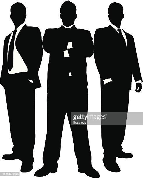 businessmen in black series - three people stock illustrations