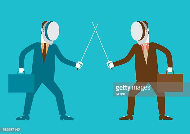 Businessmen in Fencing Stance | New Business Concept