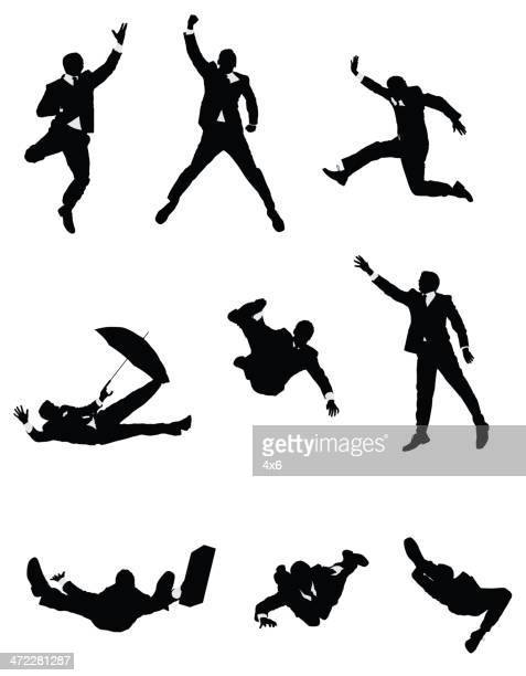 businessmen jumping and falling in air - multiple image stock illustrations, clip art, cartoons, & icons