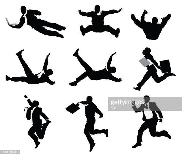 businessmen jumping and falling - multiple image stock illustrations, clip art, cartoons, & icons
