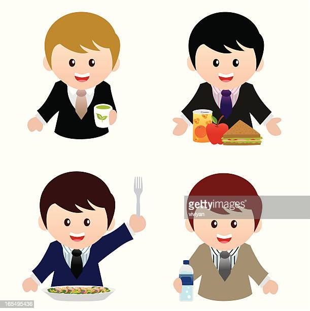 businessmen love healthy food icon set - lunch break stock illustrations, clip art, cartoons, & icons