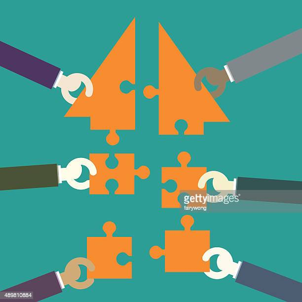 businessmen making a building puzzle which is an arrow - coordination stock illustrations, clip art, cartoons, & icons