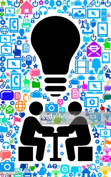 businessmen meeting technology web vector background pattern - lunch break stock illustrations, clip art, cartoons, & icons