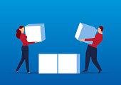 Businessmen move cubes together