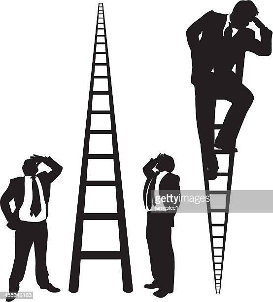 Businessmen on Ladders