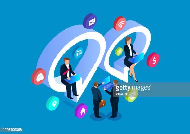 businessmen online chat discussion, social media network - customer engagement stock illustrations