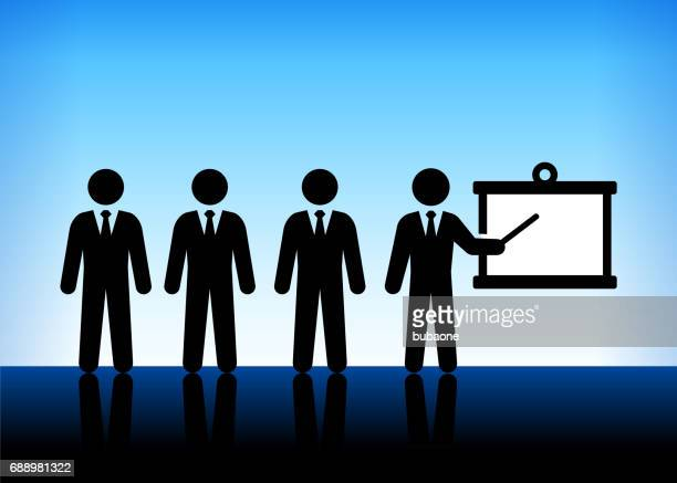 Businessmen Presentation on Blue Vector Background