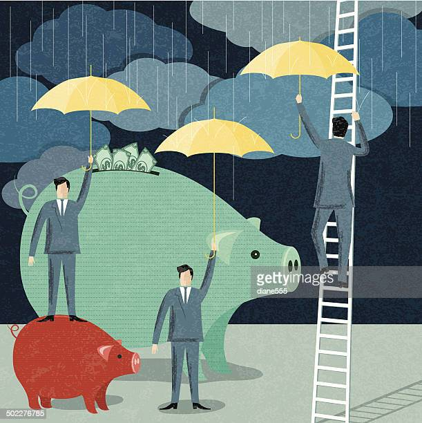 businessmen protecting their investment - editorial stock illustrations
