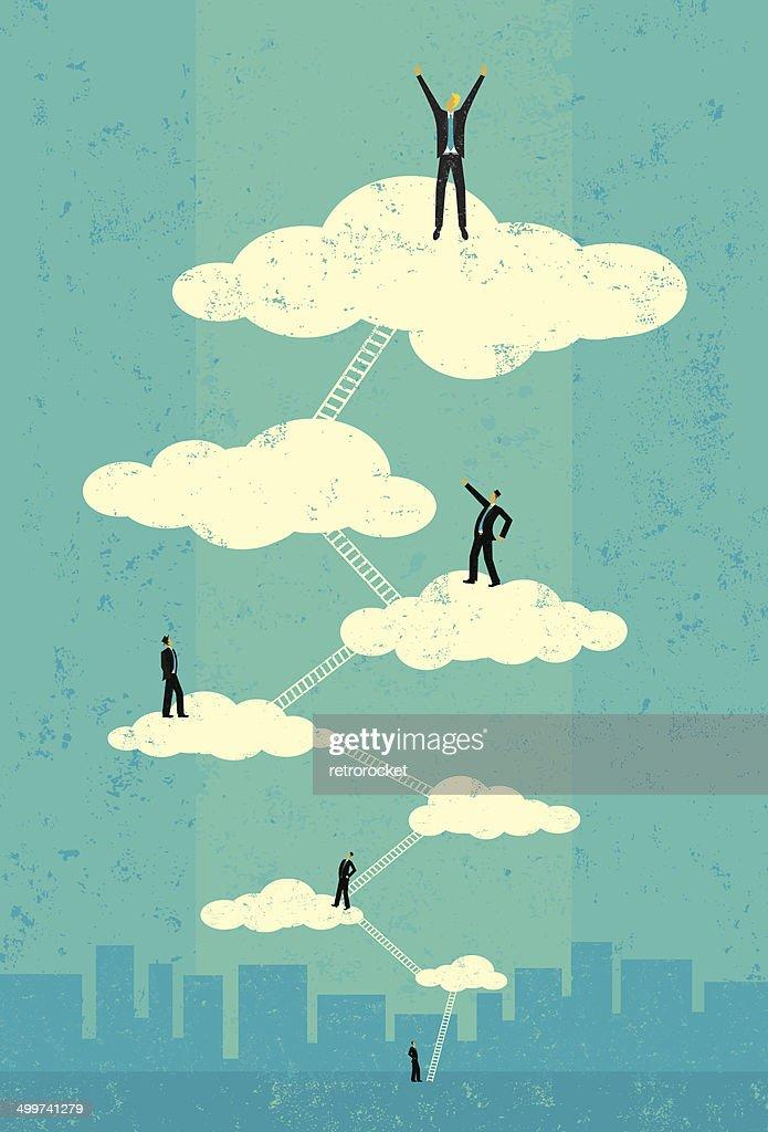 Businessmen reaching seventh heaven
