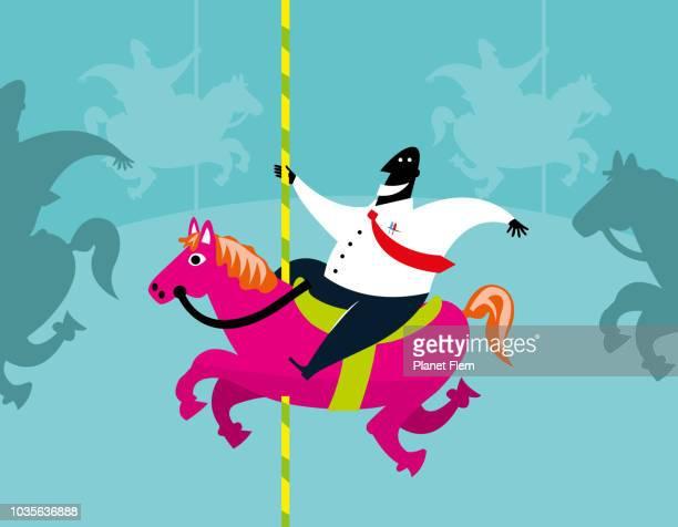 ilustraciones, imágenes clip art, dibujos animados e iconos de stock de hombres de negocios montado en un caballo de carrusel - caballitos del tiovivo