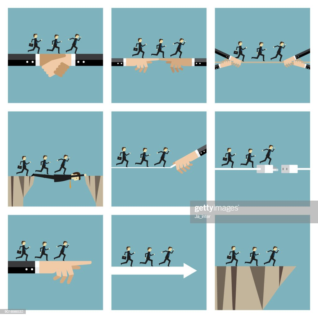 Businessmen running illustration icon set : stock illustration