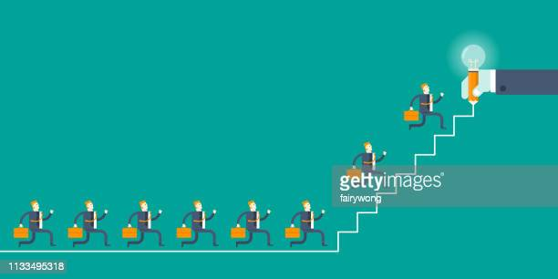 Businessmen running up the stairs,business success graph concept