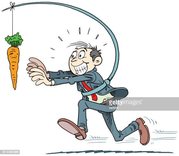 businessmen running with hanging carrot - chasing stock illustrations