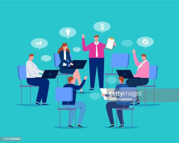 ビジネスマンは、アイデアを話し合うためにオフィスに一緒に座って、情報交換、仕事の会議、ビジネス交渉 - 親睦会点のイラスト素材/クリップアート素材/マンガ素材/アイコン素材