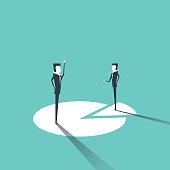 Businessmen standing on chart, Market share concept. vector