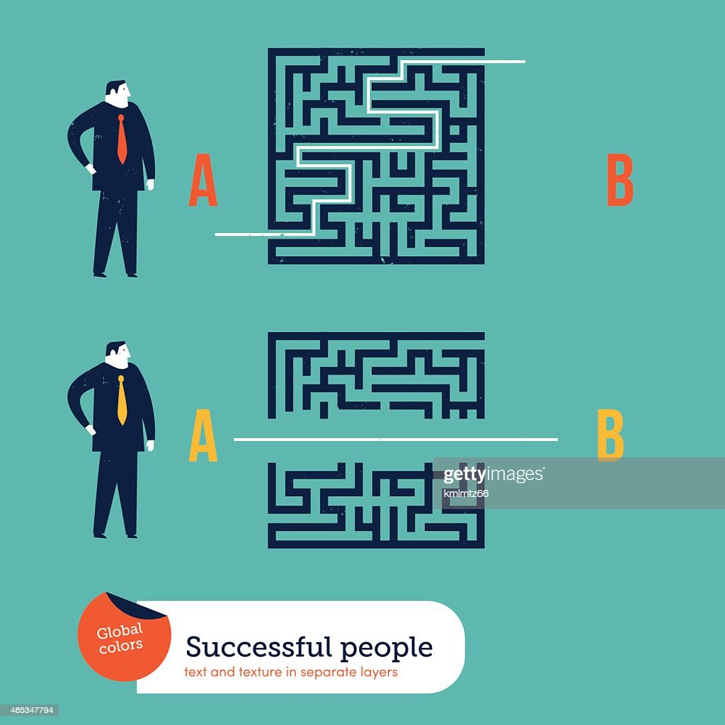 Businessmen using different ways to go out of a maze