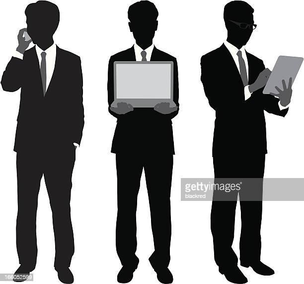 businessmen using portable gadgets - salesman stock illustrations