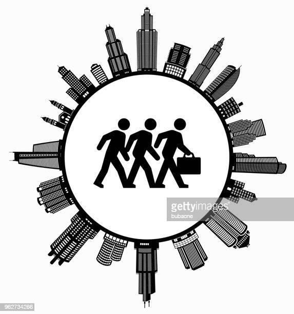 geschäftsleute gehen auf modernen stadtbild skyline hintergrund - gewerbeimmobilie stock-grafiken, -clipart, -cartoons und -symbole