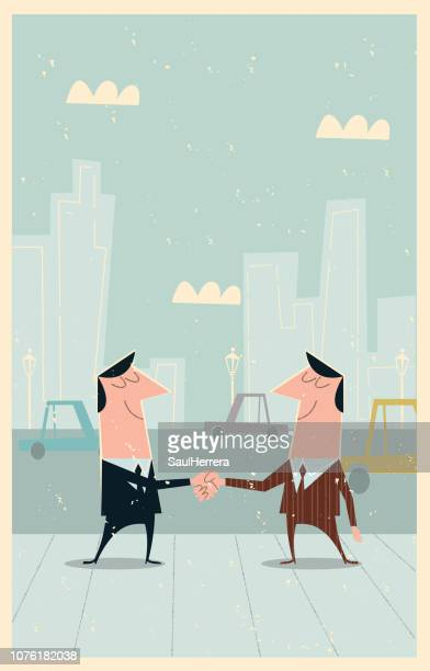 Businessmen waving