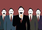 Businessmen wearing a various mask