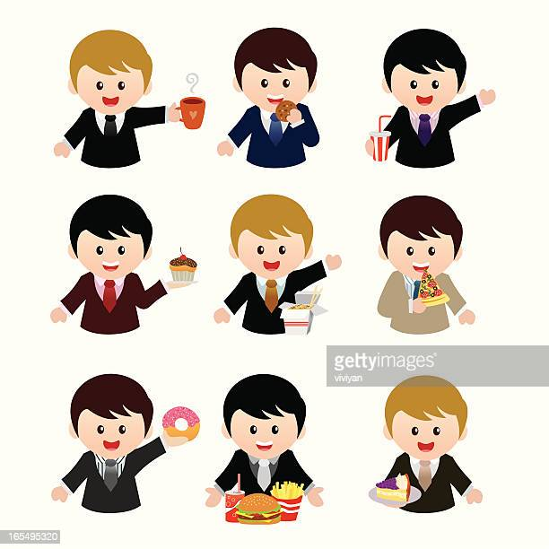 businessmen with fast food icon set - lunch break stock illustrations, clip art, cartoons, & icons