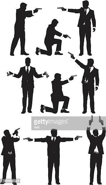 Businessmen with handguns