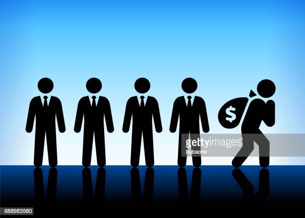 businessmen with money bag on blue vector background - sac stock illustrations, clip art, cartoons, & icons