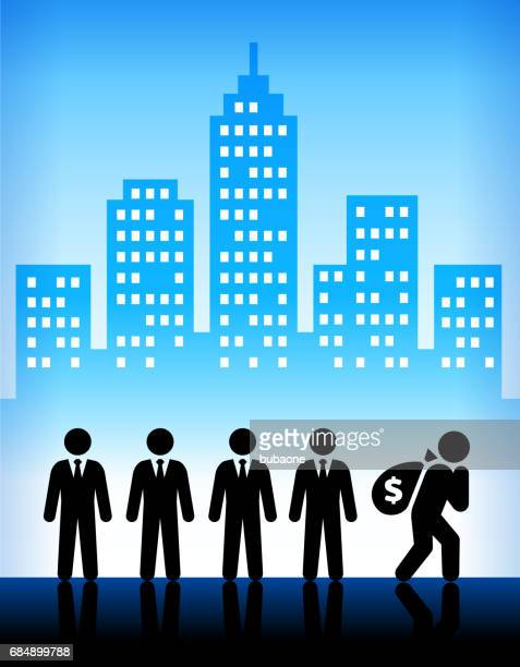 businessmen with money bag on modern city background - sac stock illustrations, clip art, cartoons, & icons