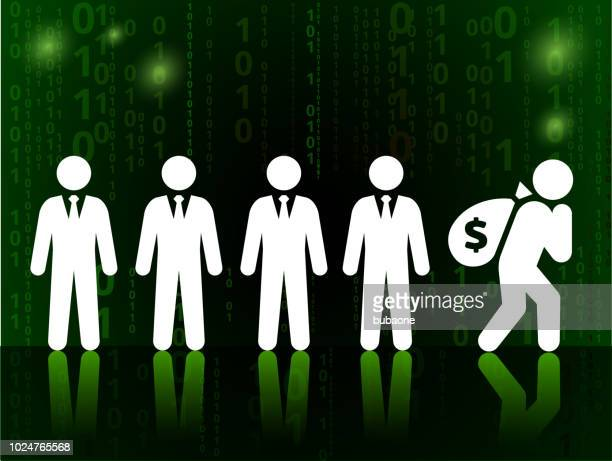 businessmen with money bag on on binary code black background - sac stock illustrations, clip art, cartoons, & icons