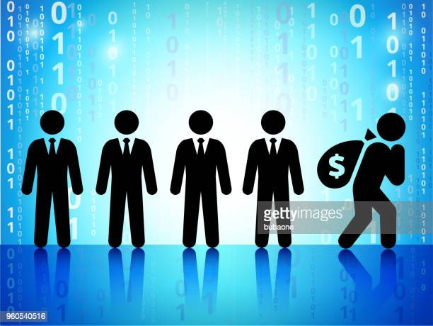businessmen with money bag on on binary code blue background - sac stock illustrations, clip art, cartoons, & icons
