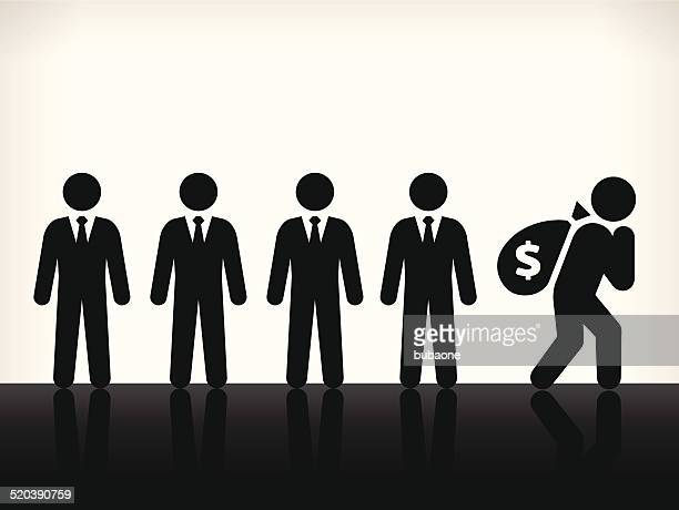 businessmen with money bag royalty free vector art - sac stock illustrations, clip art, cartoons, & icons