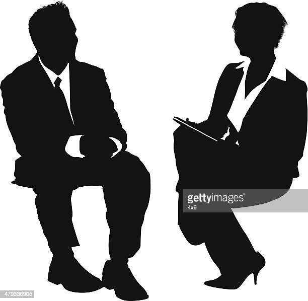 businesspeople job interview - interview stock illustrations, clip art, cartoons, & icons