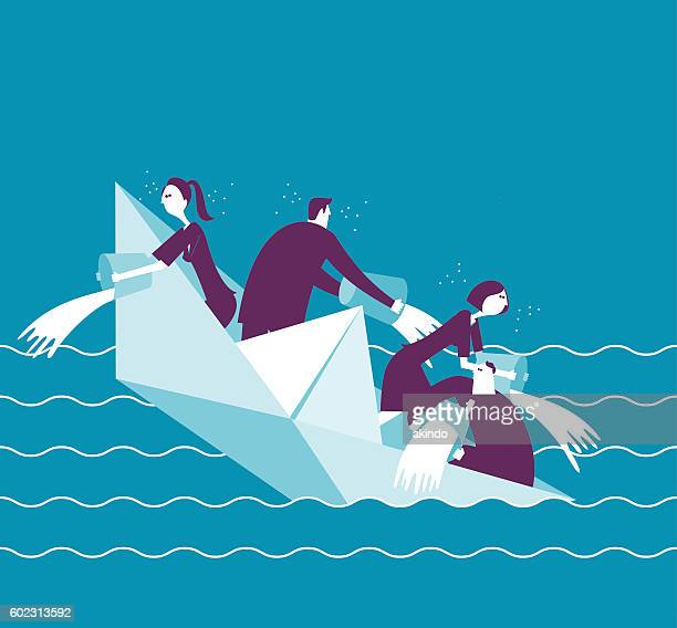 businesspeople on a sinking boat - crisis stock illustrations