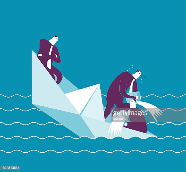 Businesspeople on a sinking boat