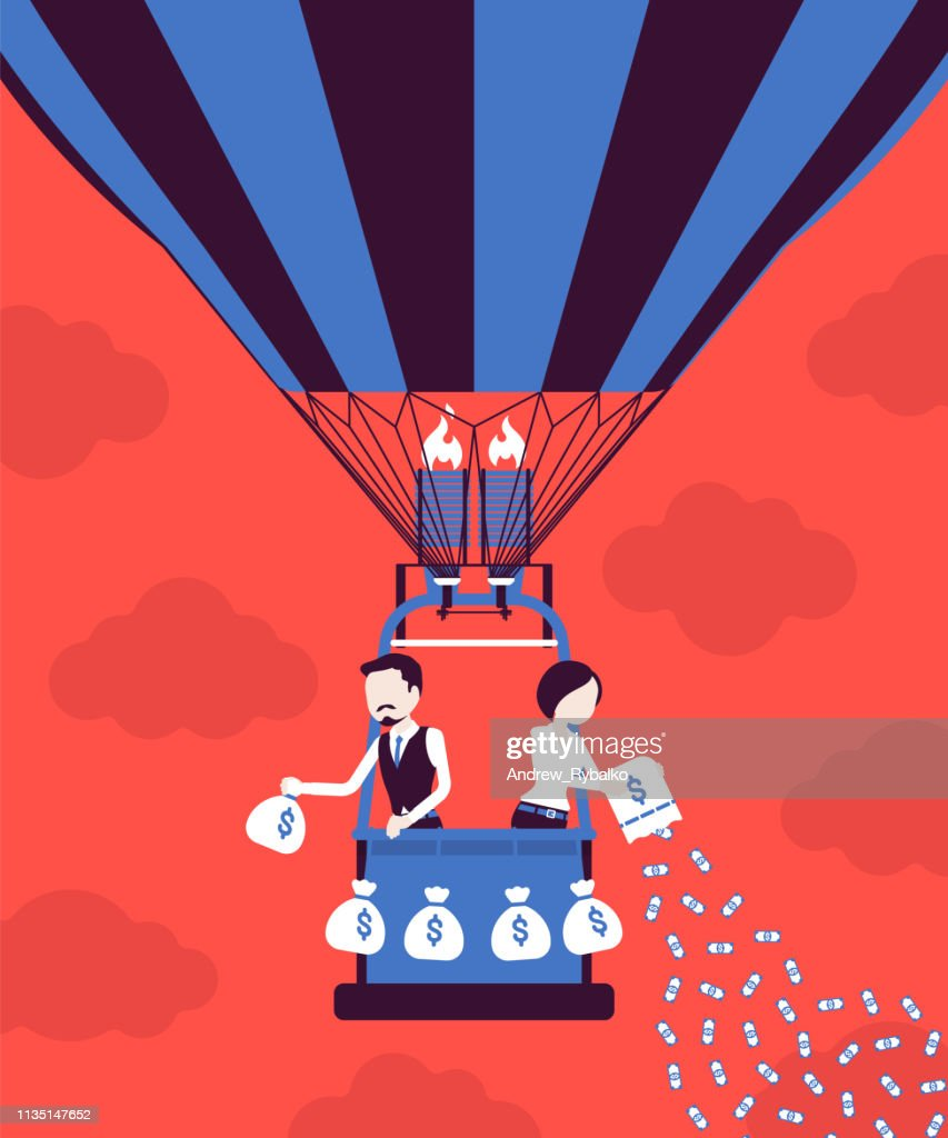 Businesspeople on hot air balloon investing money for future profit