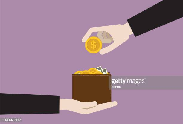 businesspeople putting dollar coin into a wallet - wage gap stock illustrations
