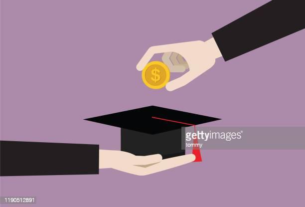 米ドル硬貨を卒業キャップに入れるビジネスマン - 大学点のイラスト素材/クリップアート素材/マンガ素材/アイコン素材