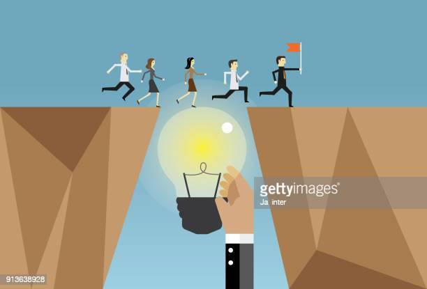 businesspeople running and ideas