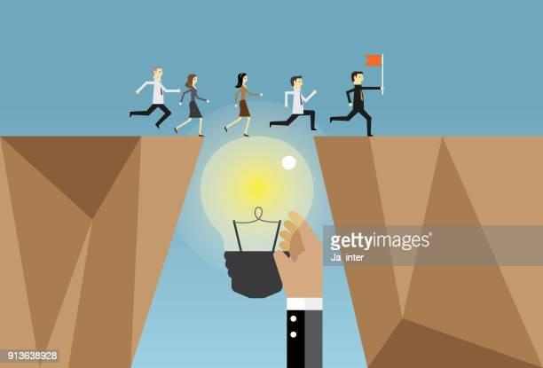 ilustraciones, imágenes clip art, dibujos animados e iconos de stock de empresarios ejecutan e ideas - cortar